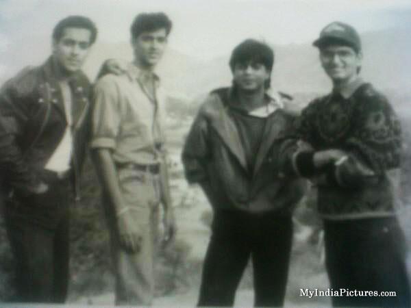 Salman-Hritik-Shahrukh-khan-Abhay-deol-at-Karan-Arjun-shooting