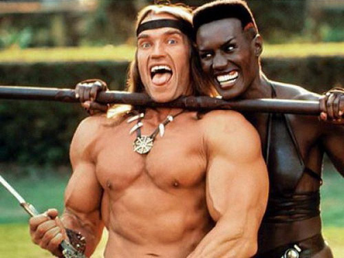 Arnold-Schwarzenegger-and-Grace-Jones-on-the-set-of-Conan-the-Destroyer