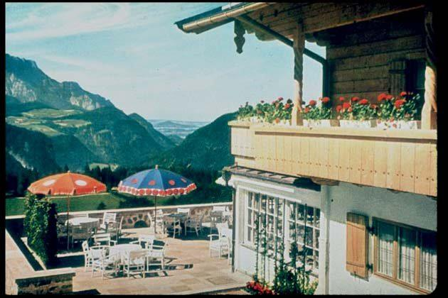 Exterior view of the terrace at the Berghof (formerly known as Haus Wachenfeld), Adolf Hitler's estate in Berchtesgaden, Upper Bavaria, Germany, late 1930s.