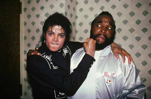 King of Pop Michael Jackson in Dodgers STadium with Mr. T