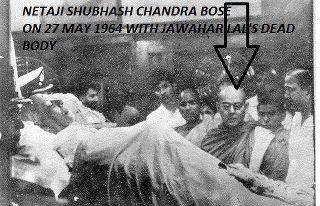 netaji-subhash-chandra-bose-in-Nehrus-funeral