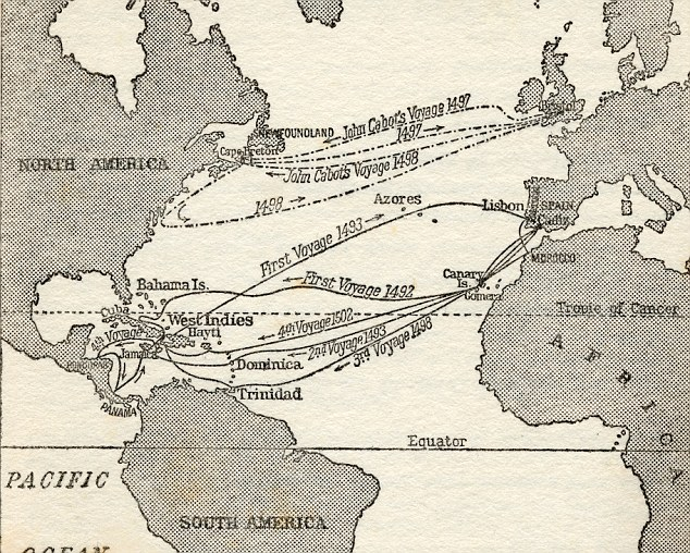 Map-showing-voyages-Christopher-Columbus-and-John Cabot.