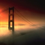 Golden-Gate-Bridge-submerged-under-fog-with-beautiful-sunlight