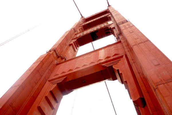 Golden-Gate-Bridge-tower-painted-with-international-Orange-colour