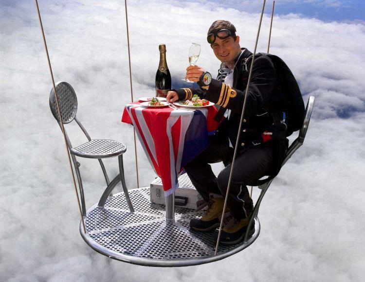 Bear-Grylls-enjoying-nice-meal-at-25,000-feet