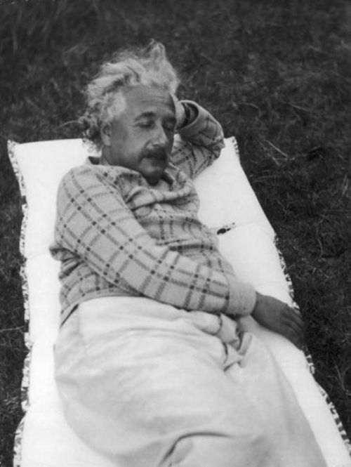 Albert-Einstein-taking-a-nap-in-his-garden