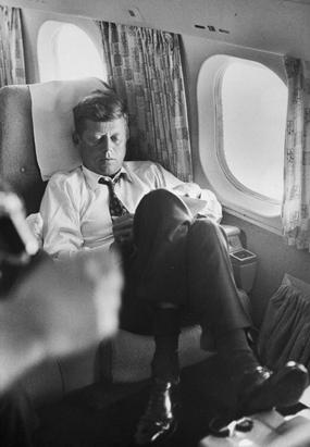 taking-a-nap-John-F-Kennedy-in-plane