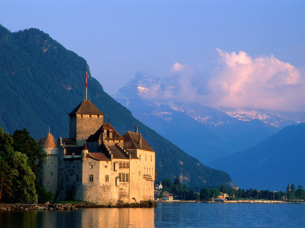Chillon-castle-Switzerland-built-on-oval-limestone