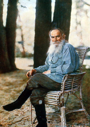 Lithograph-print-of-Leo-Tolstoy-in-front-Prokudin-Gorsky's-camera-1908