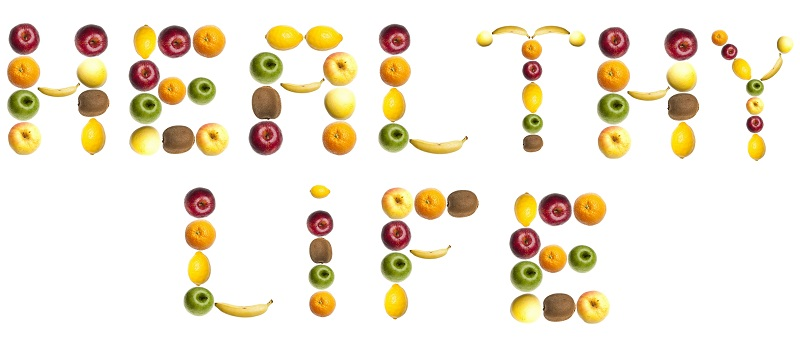 Healthy life words made of fruits