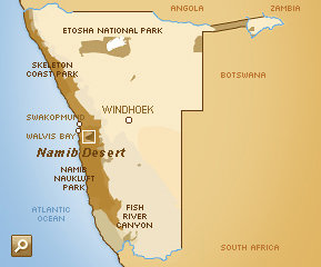 namib desert on africa map